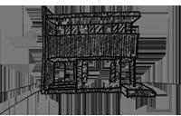 田園に建つ家のスケッチ