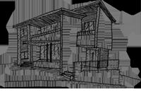 フロアで分かれる二世帯住宅のスケッチ