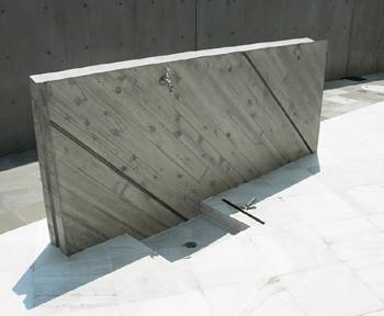 試し打ちに利用した洗い場の壁のイメージ