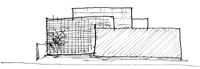 重ねコンクリート壁の家のスケッチ