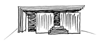 木板塀の家のスケッチ