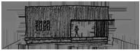 ロの字プランの家のスケッチ