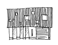 境内に建つ家のスケッチ